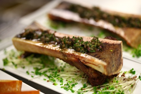 KOBE BEEF MARROW BONE WITH CAPERS & PARSLEY